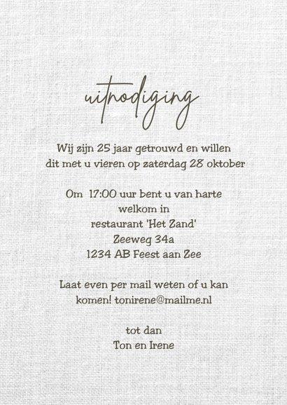 25 jarig jubileum uitnodiging huwelijk hout linnen 3