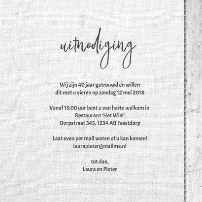 40 jarig huwelijks jubileumkaart - uitnodiging krijt hart 3