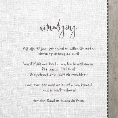 40 jarige jubileum uitnodigingskaart hout en linnen 3
