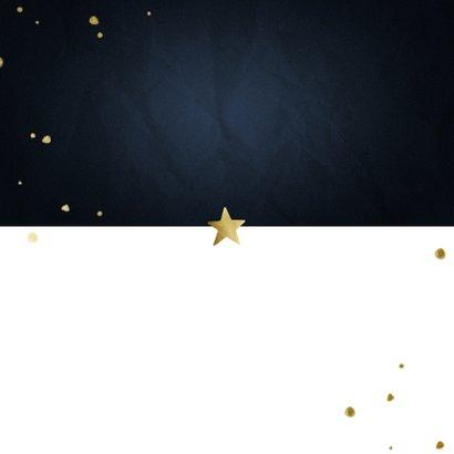 Adreswijziging kerstkaart met sterren en papiertje Achterkant