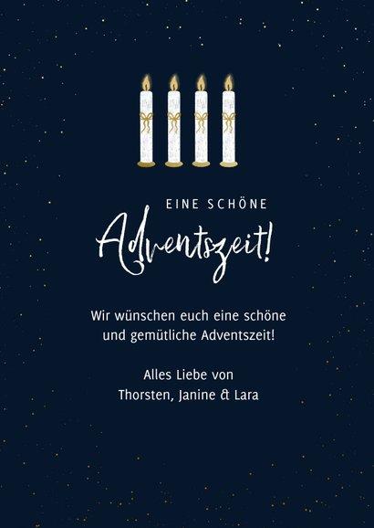 Adventskarte vier Kerzen mit Schleife 3