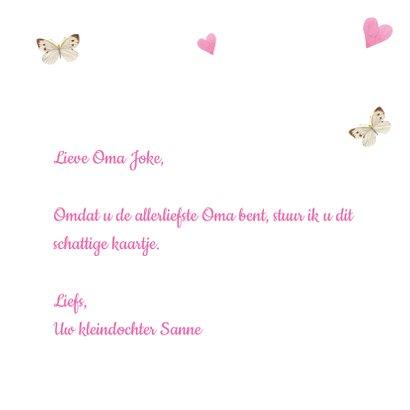 Allerliefste oma kaart met kitten, hartjes en vlinders 3
