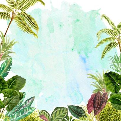 Avontuurlijk jungle geboortekaartje met panter Achterkant