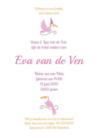 Babykaart jungle toekan roze paars  3