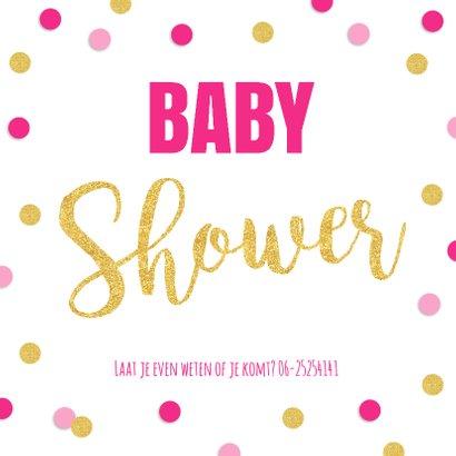 Babyshower uitnodiging foto gouden confetti 2