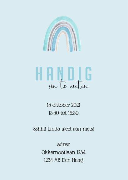 Babyshower uitnodiging | Regenboog waterverf blauw 2