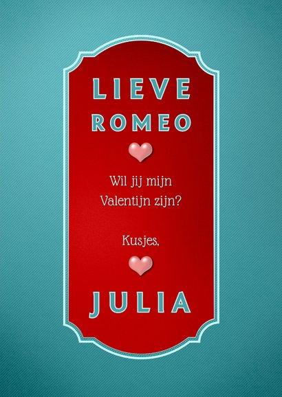 Be My Valentine stijlvolle valentijnskaart met retro tekst 3