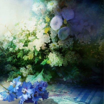 Bedankkaart blauwe bloemen - SG 2