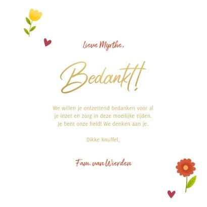 Bedankkaart bos bloemen Heel erg bedankt 3
