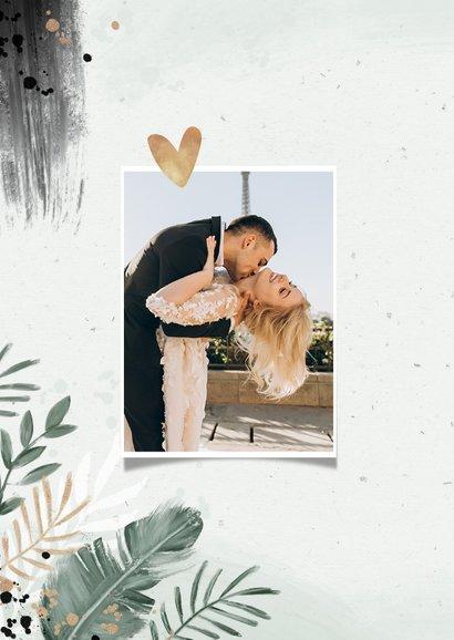 Bedankkaart bruiloft botanisch goud waterverf foto 2