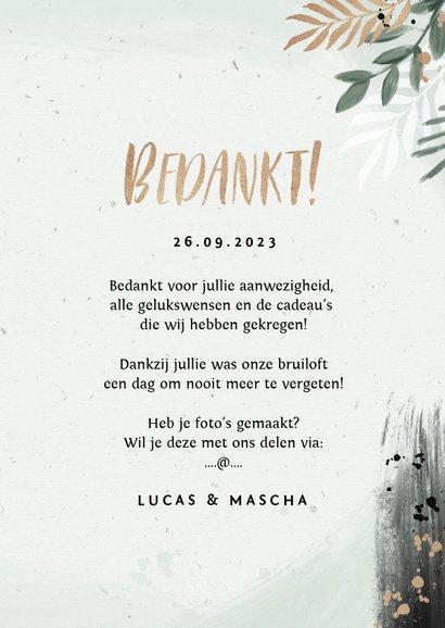 Bedankkaart bruiloft botanisch goud waterverf foto 3