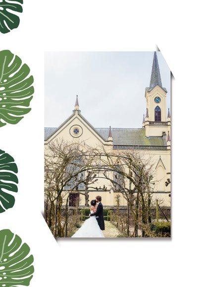 Bedankkaart bruiloft botanisch grote groen bladeren 2