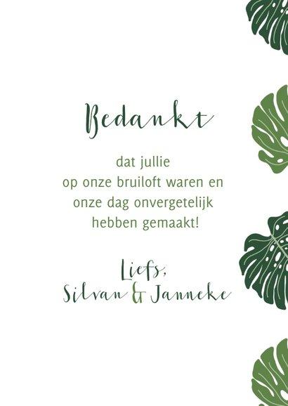 Bedankkaart bruiloft botanisch grote groen bladeren 3