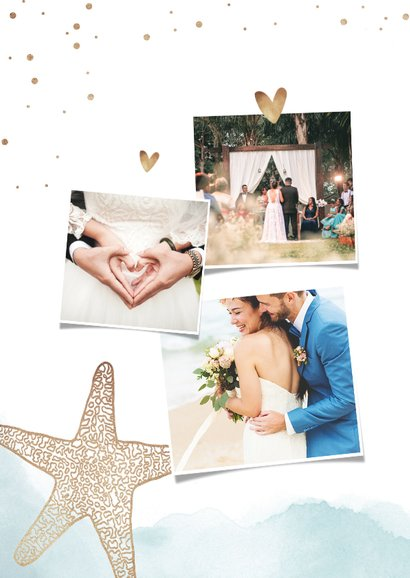 Bedankkaart bruiloft strand klassiek zeester goud 2