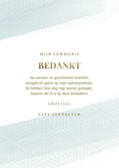 Bedankkaart communie blauwe waterverf met grafisch patroon 3