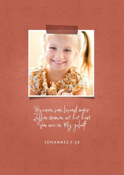 Bedankkaart communie christelijke symbolen met foto's meisje 2