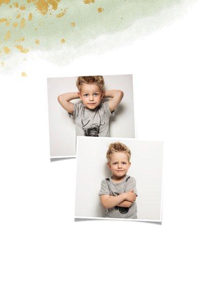 Bedankkaart communie jongen met waterverf en gouden spetters 2
