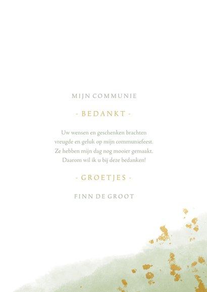 Bedankkaart communie jongen met waterverf en gouden spetters 3