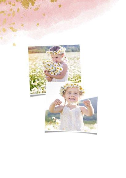 Bedankkaart communie meisje met waterverf en gouden spetters 2