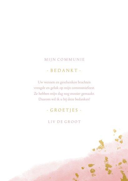 Bedankkaart communie meisje met waterverf en gouden spetters 3