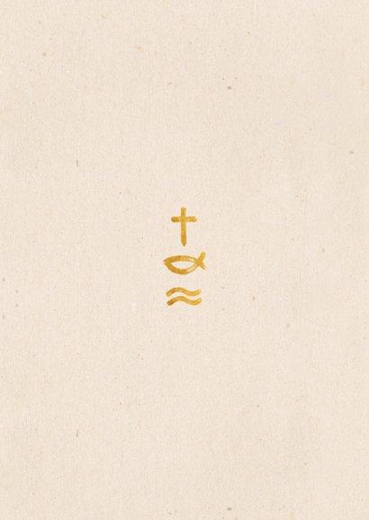 Bedankkaart communie met foto en christelijke symbolen Achterkant