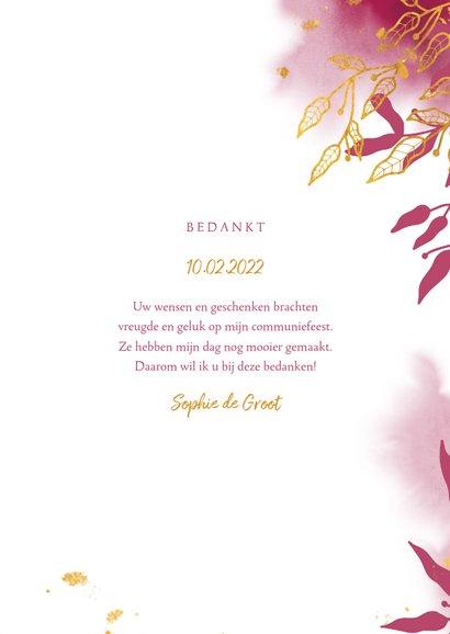 Bedankkaart communie met gouden bladeren en roze waterverf 3