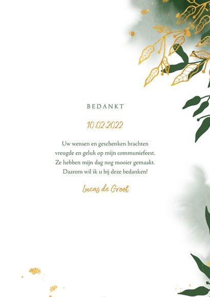 Bedankkaart communie met groene waterverf en gouden bladeren 3