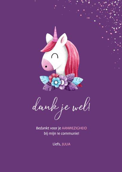 Bedankkaart communie met unicorn en confetti 3