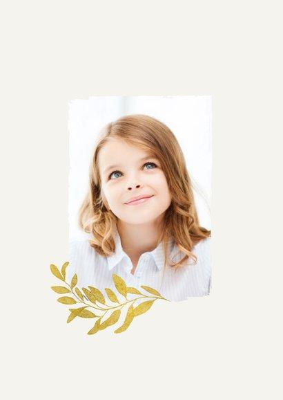 Bedankkaart communie stijlvol goud bladeren verf fotocollage 2
