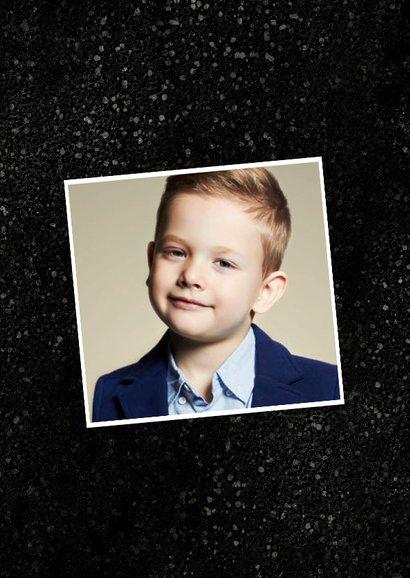 Bedankkaart communie stoer jongen spetters goud fotocollage 2