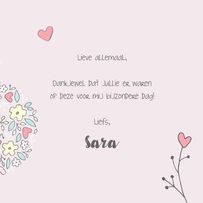 Bedankkaart communiefeest meisje met bloemen 3