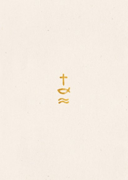 Bedankkaart doopfeest christelijke symbolen en foto Achterkant
