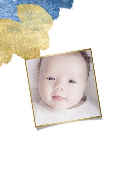 Bedankkaart doopfeest foto metallic blauw 2