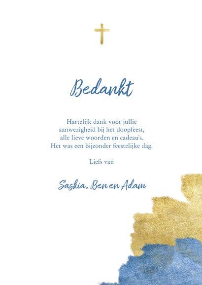 Bedankkaart doopfeest foto metallic blauw 3