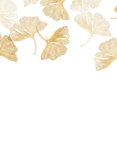 Bedankkaart doopsel ginkgo goud met foto Achterkant