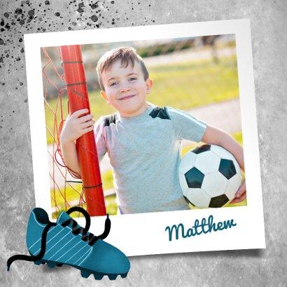 Bedankkaart eerste communie met voetbal, beton en foto 2