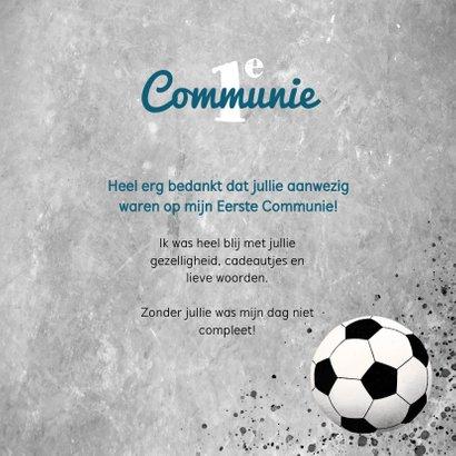Bedankkaart eerste communie met voetbal, beton en foto 3