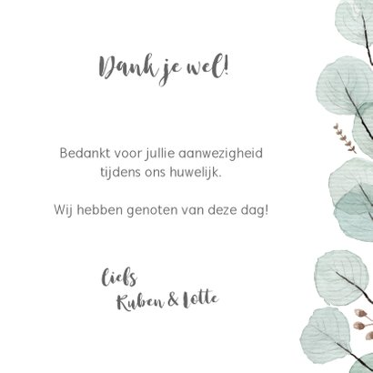Bedankkaart eucaplyptus, aanpasbare tekst 3