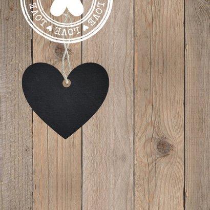Bedankkaart foto hout hartje 2