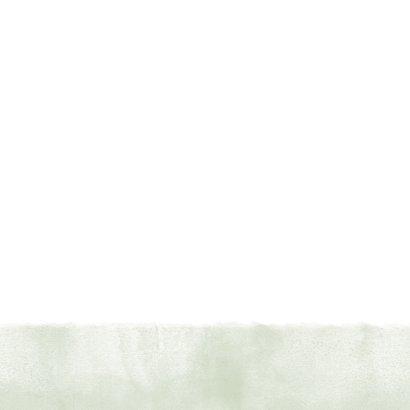 Bedankkaart groene waterverf, typografie en spetters Achterkant