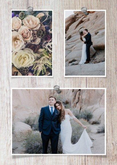 Bedankkaart hout met foto's en spijkers 2