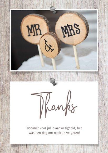 Bedankkaart hout met foto's en spijkers 3
