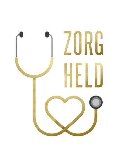 Bedankkaart hulpverlener zorgheld stethoscoop hart 2