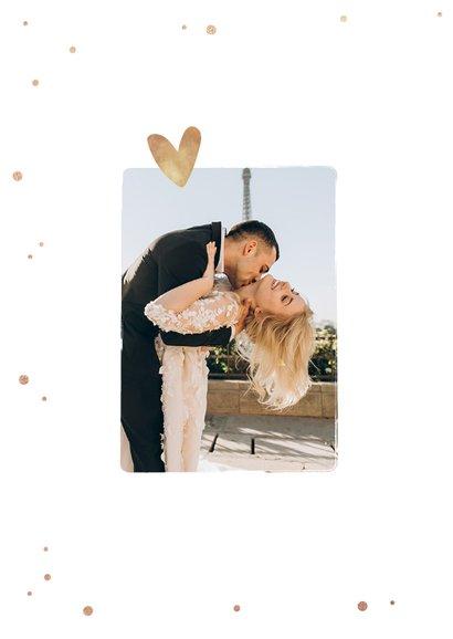 Bedankkaart huwelijk stijlvol goudlook confetti fotocollage 2