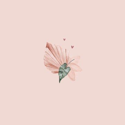 Bedankkaart klassiek stijlvol droogbloemen geschilderd Achterkant