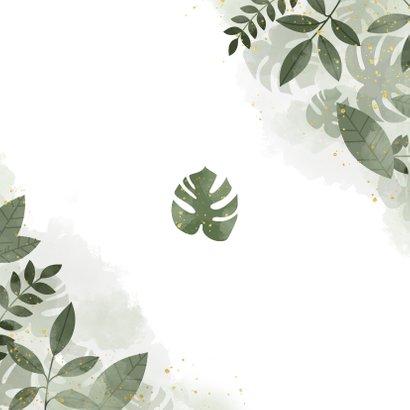 Bedankkaart met botanische print, waterverf en spetters Achterkant
