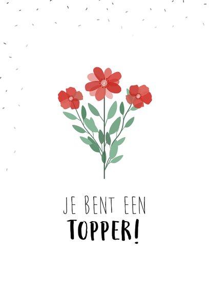 Bedankkaart met mooie bloemen die uit een envelop komen 2