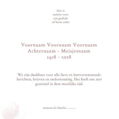 Bedankkaart met oud roze bloem silhouet 3