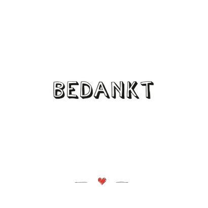 Bedankkaart met tekst bedankt en rood ingetekend hartje 2