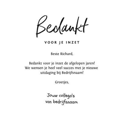 Bedankkaart namens bedrijf collega afscheid nieuwe baan 3